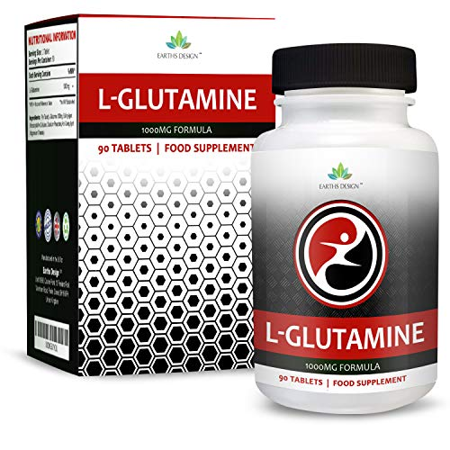 L Glutamine - 1000mg Glutamine - L-Glutamine Amino Acid - Suitable for Vegetarians- 90 Tablets (3 Month Supply) by Earths Design