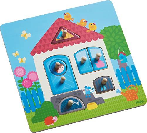 HABA 302527 - Greifpuzzle Mein Zuhause   Holzspielzeug ab 12 Monaten   7-teiliges Puzzle aus Holz mit buntem Hausmotiv   Mit großen Knöpfen zum Greifen