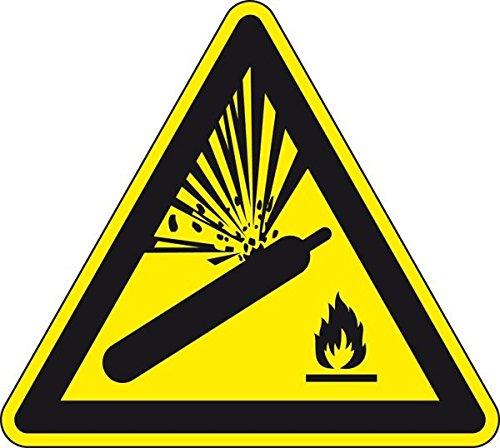 LEMAX® Warnschild Warnung vor Gasflaschen, ASR/ISO, Folie, selbstklebend, SL 100mm