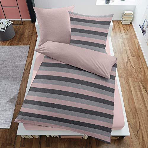 Dormisette Melange Flanell Bettwäsche Borgholm Altrose 1 Bettbezug 135 x 200 cm + 1 Kissenbezug 80 x 80 cm