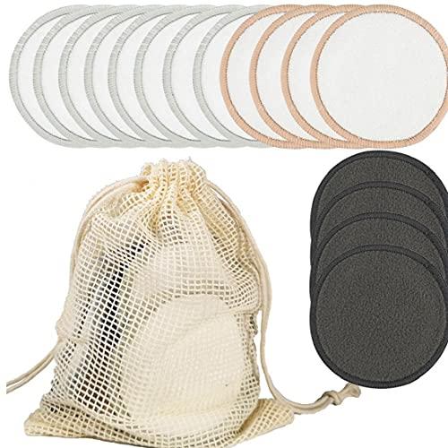 Almohadillas de algodón reutilizable del maquillaje de ratón de bambú Toallas Sanitarias removedor de maquillaje de belleza esponja lavable Toallitas de limpieza facial para el maquillaje de belleza