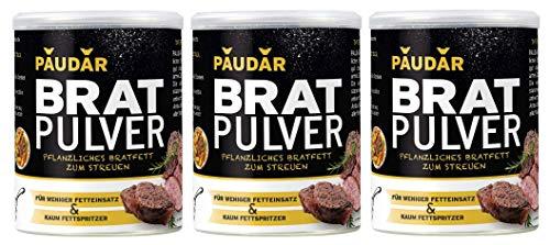 PAUDAR Bratpulver - Vegan, leicht dosierbar - 100 {03b679f6d0118dc8c3cc4cbfe3cda60d5464dbd9a1ccac3ceb809edf7442a613} pflanzlich, reduziert Fettspritzer, fettarme Zubereitung von Fisch, Fleisch, Gemüse (3 x 125g)