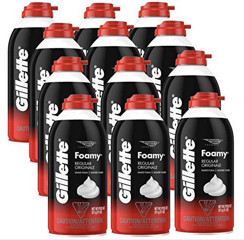 Gillette Foamy Regular Shaving Foam, 11 oz (Pack of 12)