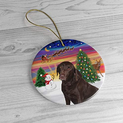 Chocolate Labrador Retriever in Santa's Sunset Take Off Heirloom Ceramic Ornament Personalized with Name and Year 3' Ceramic Ornament