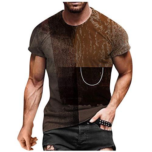 Xmiral Top T-Shirt Uomo Summer Casual 3D Stampato Manica Corta Girocollo Camicetta (3XL,4Marrone)