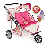 Twin DOLL Jogger Stroller with Diaper Bag, Off white/Pink designed (Bitty Twins) by Exquisite BuggyTwin DOLL Jogger Stroller with Diaper Bag, Off white/Pink ...
