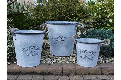 Marron et gingembre Lot de 3 'Flowers & Garden' Corde à manche en métal seaux à glace/pots de fleurs/accessoires de décoration