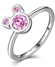Puadun S925 Sterling Silver Adjustable Mickey Mouse Shape Ring with Dazzling Cubic Zirconia Rings for Women Girls Birthday Gifts (Included Beautiful Jewelry Box)