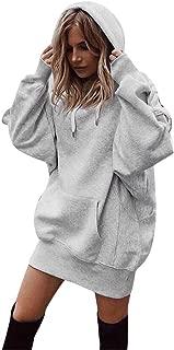 Women Causal Hoodie Maxi Dress Solid Pullover Loose Sweater Hoodie Tops Sweatshirt Long Tops