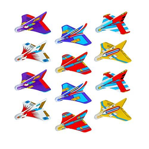 PartyPackTM 12x Styroporflieger Mini Stern für Kinder, Jungen und Mädchen Geburtstag / Kindergeburtstag Gastgeschenke / Mitgebsel / Mini Star Gliter / Styropor Flieger / Gleiter Flugzeuge Set.