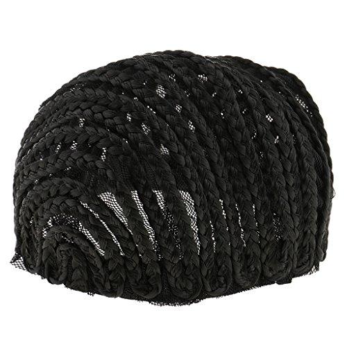 Gazechimp Cornrow Bonnet de Perruque pour Fabrication de Perruque Réglable Tressé Bonnet Dentelle Tissage Perruque - Noir, L