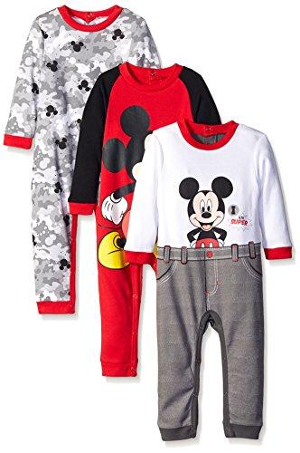 Disney Overol de Mickey de para niños (3 Unidades), Rojo, 6-9 Meses