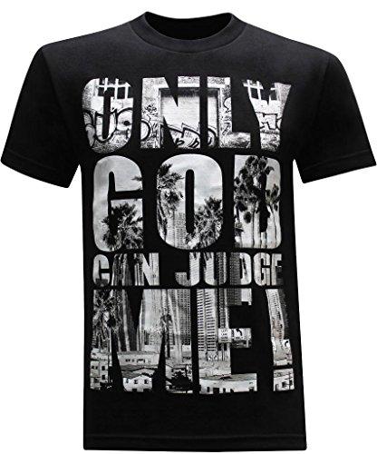tees geek California Republic Only God Can Judge Me Men's T-Shirt - (X-Large) - Black