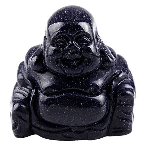 Nupuyai Blau Sandstein Lachender Buddha Figur Edelstein Kristall Glücksbuddha Heilstein Glücksbringer Feng Shui Dekoration