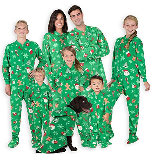 Footed Pajamas - Family Matching Green Christmas Onesies for Boys, Girls, Men, Women and Pets - Kids - Large (Fits 4'9 - 4'11')