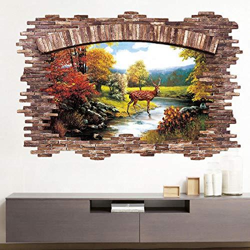 WSMSP 3D Vloerstickers Herfst Hertenbos Herten Muurstickers Huisdecoratie Woonkamer Slaapkamer Raamdecoratie Sticker muurschildering