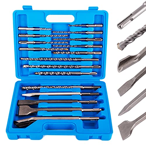 17pcs Rotary Hammer Drill Bits & Chisel Set, SDS Plus Concrete Masonry Hole Tool with Storage Carrying Case