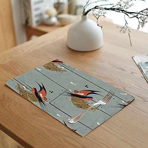 HUAYING Manteles individuales de lino con diseño de pájaros, diseño de colibrí de 42 x 32 cm, mantel individual creativo