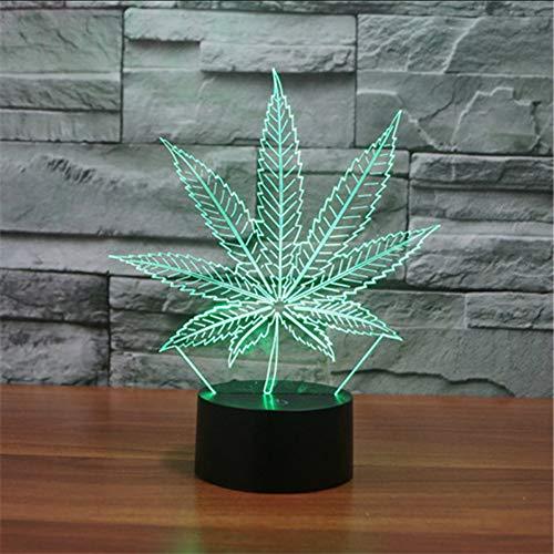 Lámparas De Mesa Led 3D Marihuana Lámpara Nocturna De Hoja De Arce Luz Nocturna De Acrílico Colorido Gradiente Atmósfera Lámpara Promoción Lbonb