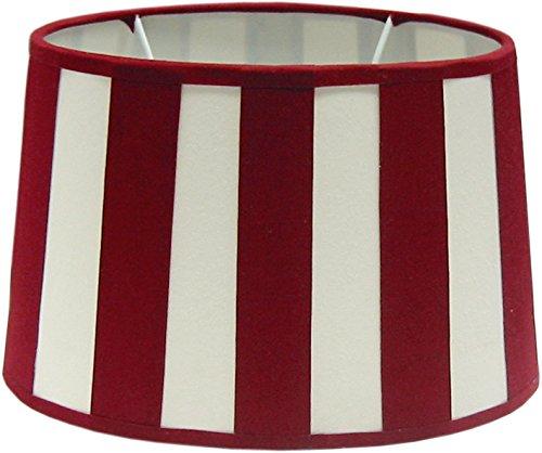 Tisch-Lampenschirm Chintz *oval* Balkenstreifen rot/beige Du=26 / Do=21 / H=17,5cm Befestigung unten E27 (optional lieferbar Reduzierring auf E14) (Amazon B06XHPVZ4G))