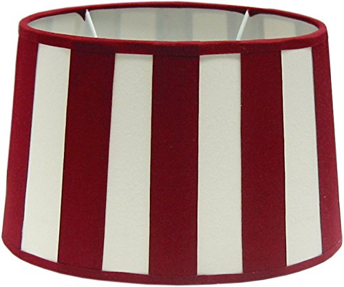 Tisch-Lampenschirm Chintz *oval* Balkenstreifen rot/beige Du=26 / Do=21 / H=16,5cm Befestigung unten E27 (optional lieferbar Reduzierring auf E14) (Amazon B06XHPVZ4G))