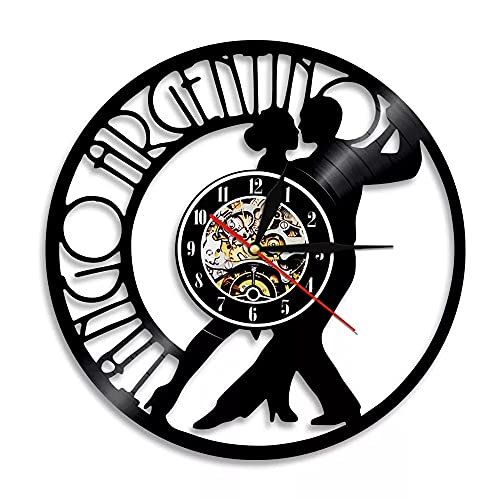 KDBWYC Reloj de Pared 3D Tango, Reloj de Pared con Disco de Vinilo Bailando, Reloj de Pared con Silueta de Pareja de Baile, Relojes de Pared Decorativos, decoración de diseño Moderno sin Led