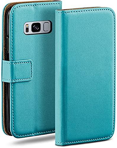 moex Klapphülle kompatibel mit Samsung Galaxy S8 Hülle klappbar, Handyhülle mit Kartenfach, 360 Grad Flip Hülle, Vegan Leder Handytasche, Türkis