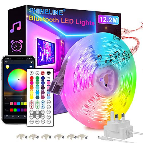 Led Strip Lights 12.2M, Bluetooth APP and Remote Control Music Sync Led Lights for Bedroom, Room, Ceiling, Party, Home Decoration with SMD 5050LED 16 Million Colors RGB Light Strip Bias Lighting