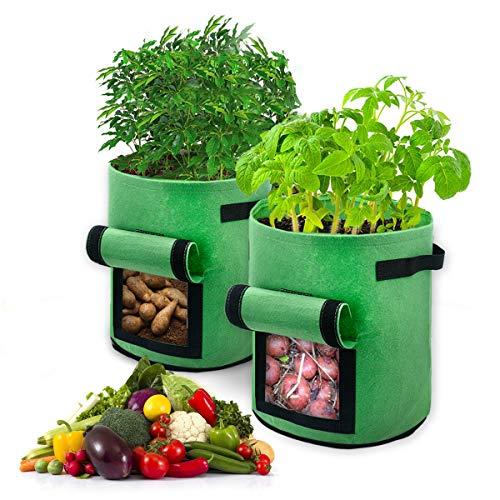 BoloShine Pflanzen Wachsende Tasche 7 Gallonen, 2 Stück Kartoffel Pflanzsack mit Sichtfenster Klettverschluss und Griffen, Garten Gemüse AtmungsaktivBeutel für Kartoffeln, Karotten, Tomaten (Grün)