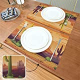 Generies Place Mats Horizontal Seamless Landscape 12x18 Inch Children Place Mat Set of 6 Double Fabric Printing Cotton Linen For Kitchen Table