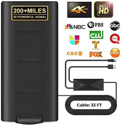 2020 Upgrade HD Digital Indoor Outdoor Amplified TV Antenna 200+Miles Range,Digital HDTV Antenna with 33ft Long Coax Cable,Support All Television,for Free Local Channels 4K HD 1080P VHF UHF