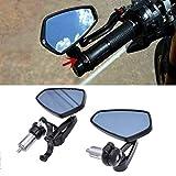 汎用バイクミラー バーエンドミラー 左右セット ブルー防眩ガラス 本田 川崎 スズキ ヤマハなど 車種汎用