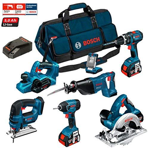 Bosch Kit PSB7WP3A Professional (GHO 18 V-Li + GSB 18 V-LI + GST 18 V-LI B + GDR 18 V-LI + GKS 18 V-LI + GSA 18 V-LI + GLI VariLED + 3 x 5,0Ah + LBAG)