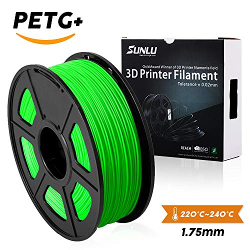 PETG 3D filament SUNLU 1.75mm 1KG(2.2lb), PETG 3D Printer Filament, Dimensional Accuracy +/- 0.02 mm, 1 kg Spool, 1.75 mm, Green PETG+ Brand: SUNLU