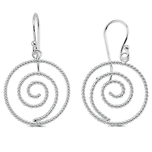 Vinani Ohrhänger Spirale klein verschlungen glänzend Sterling Silber 925 Ohrringe 2OHK
