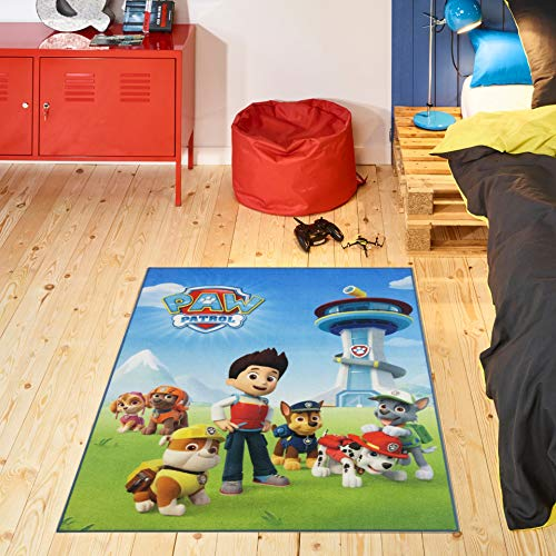 Carpet Studio PAW Patrol Spielteppich, 95x125cm, Kinderteppich für Schlafzimmer, Kinderzimmer & Spielzimmer, Antirutsch, 30°C Waschbar - Ready for Action