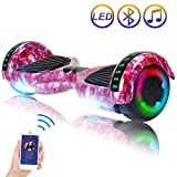 Hoverboard Self Balancing Scooter 6.5' Two-Wheel Self Balancing Hoverboard with Bluetooth Speaker and LED Lights Electric Scooter for Adult Kids Gift UL 2272 Certified Fun Edition - Purple Galaxy