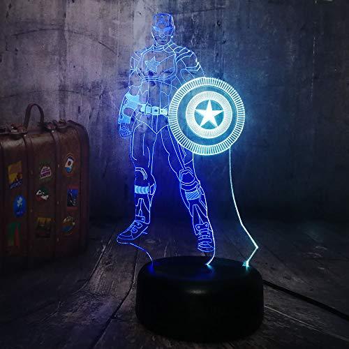Nachtlicht Optical Illusion Lamp Erstaunliche 3D-Illusion Avengers Bürgerkrieg Führte 3D Illusion Marvel Captain America 7 Farbe Schild Lampe Geschenke Für Mann Jungen