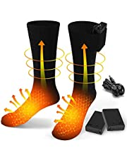 BAOTWO Verwarmde sokken, elektrische verwarmingssokken voor mannen en vrouwen, winterwarme katoenen sokken voetwarmers verwarmingssokken voor outdoor-sportcamping, vissen, fietsen, motorrijden, skaten en skiën