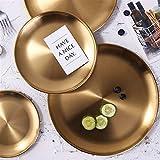 Platos llanos Bandeja de almacenamiento de latón lujo oro redondo plateado de metal Placa de la fruta Postre Snack-exhibición de la joyería bandeja de oro de acero inoxidable bandeja desayuno