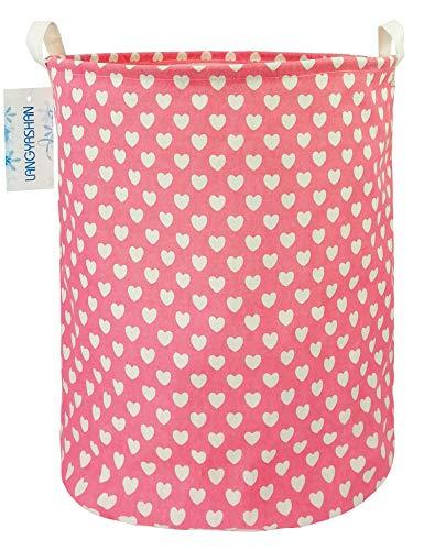 LANGYASHAN Storage BinCanvas Fabric Collapsible Organizer Basket for Laundry Hamper,Toy Bins,Gift Baskets, Bedroom, Clothes,Baby Nursery (Pink Heart)