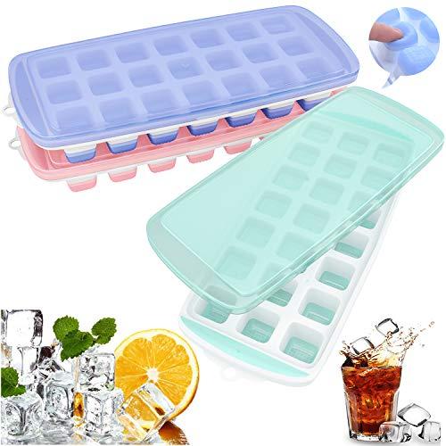 3 Stück Silikon Eiswürfelform mit Deckel Eiswürfelbehälter Ice Cube Tray Eiswürfelformen Eiswürfel Form BPA Frei für Babynahrung, Eiswürfel, Pudding, Schokolade, Seife