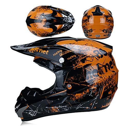 LTongx Motos Motocross Cascos y Guantes y Gafas estándar para niños ATV...