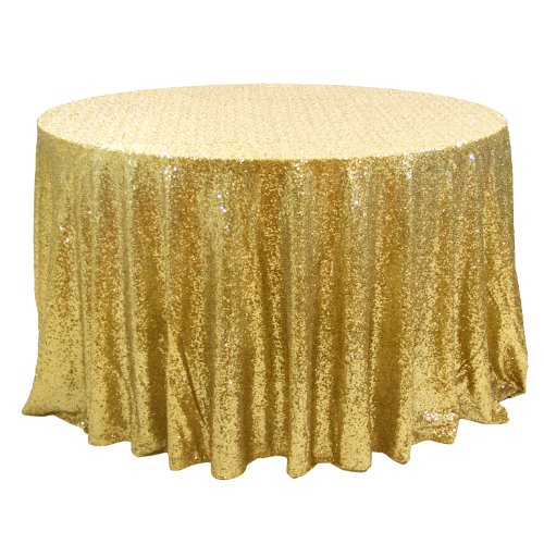 Koyal Wholesale 405001 Round Sequin Tablecloth, 120-Inch, Gold