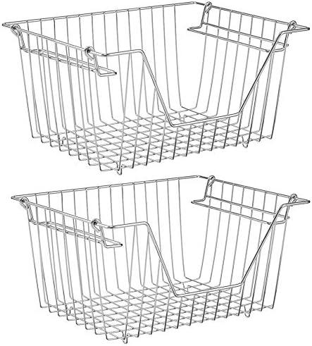 SANNO Stacking Basket Bin Pantry Freezer Storage Baskets Cabinet Organizer Large Steel Metal product image
