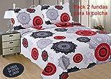 ForenTex Pack 2 Fundas Almohada 70cm REF2633 Estampada Cosida para Combinar Colchas Decorativos Florales, 50% Algodon, Gris, 50x70cm, 2