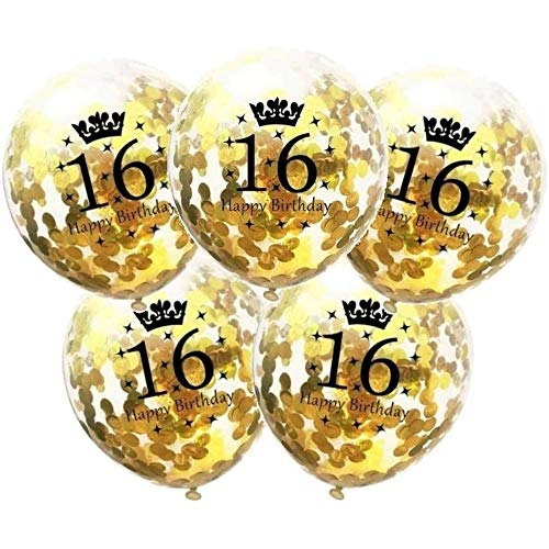 DIWULI, 5 Stück Geburtstags Luftballons, Zahl 16, Happy Birthday, Konfetti Sterne Latex-Ballons Gold, Zahlen-Ballons, Latex-Luftballons, Geburtstags-Deko Ballon-Set 16. Geburtstag, Party, Dekoration