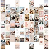 Wall Collage Kit Aesthetic Pictures, 60 Set 4x6 inch, Beige Photo Collage Kit for Bedroom Decor, VSCO Room Decor for Teen Girls