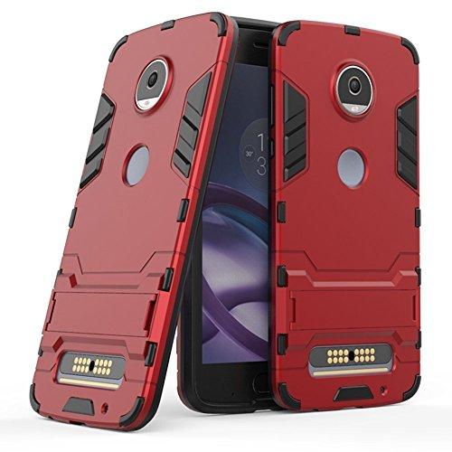 Hülle für Motorola Moto Z2 Play (5,5 Zoll) 2 in 1 Hybrid Dual Layer Shell Armor Schutzhülle mit Standfunktion Hülle (Rot)