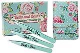 Bella and Bear, The Pluckers - Set di pinzette per le sopracciglia con custodia, 3 pezzi: ...